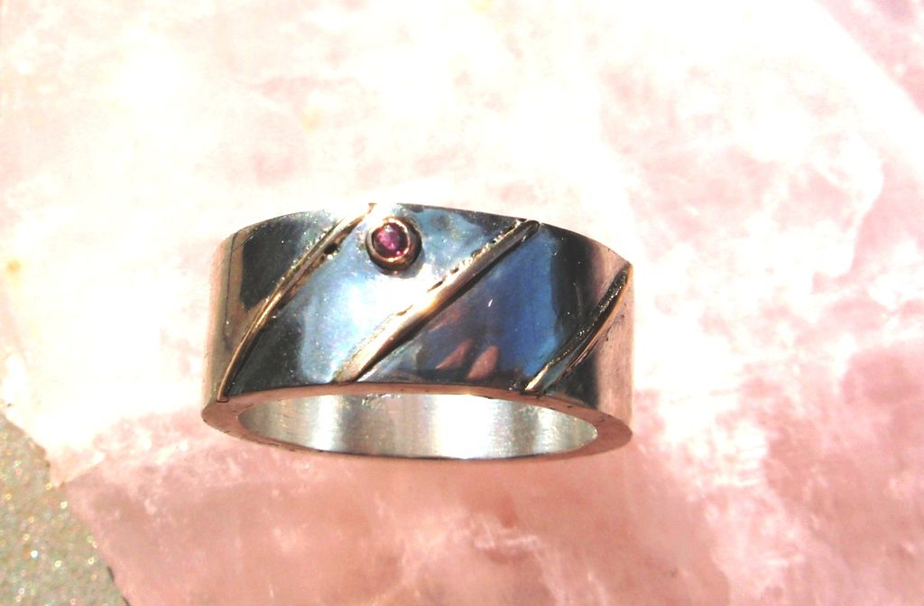 Sand Cast Sterling Silver Ring with Raised Gold stripes and Ruby - Ring