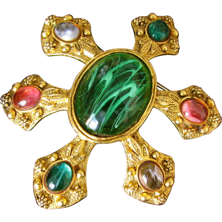 Vintage Jeweled Stylized Floral Brooch