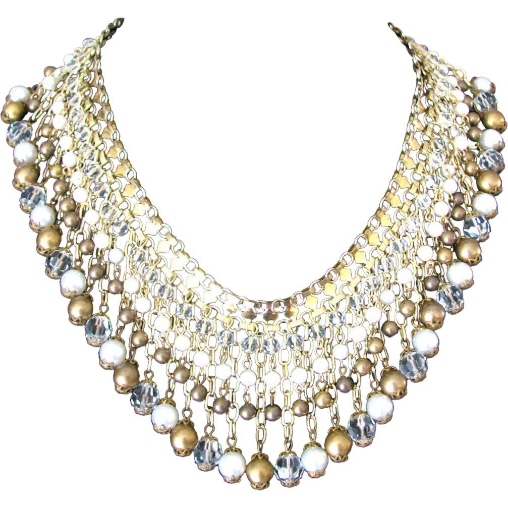 Vintage Glass Faux Pearl Bronze Metal Fringe Necklace