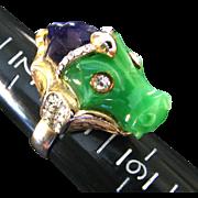 Vintage Hattie Carnegie Seahorse Serpent Ring