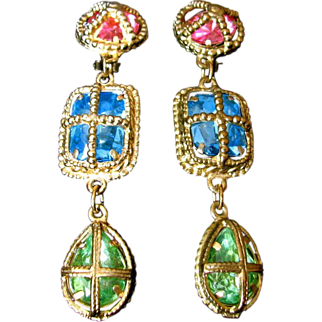"Vintage Colorful ""Caged"" Jewel Earrings"
