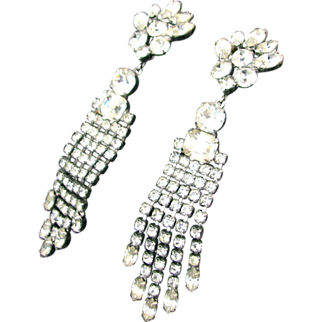 Vintage Extra Large Dangling Rhinestone  Waterfall Earrings