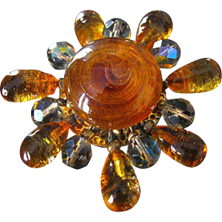 Fabulous Vintage French Poured Gripoix Glass Brooch