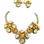 Stunning Vintage Rhinestone Necklace and Earrings Demi-Parure