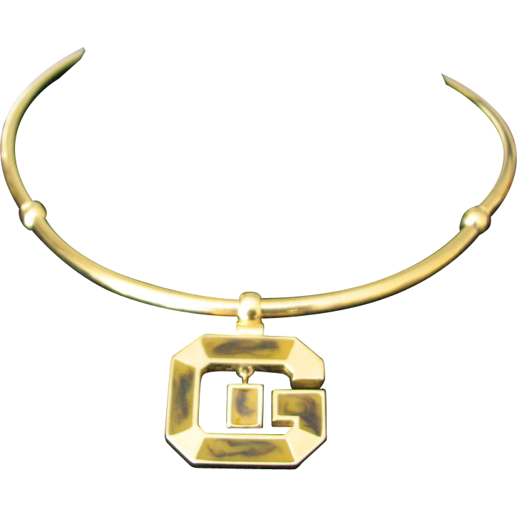 "VIntage Signed Givenchy Enamel ""G"" Necklace"