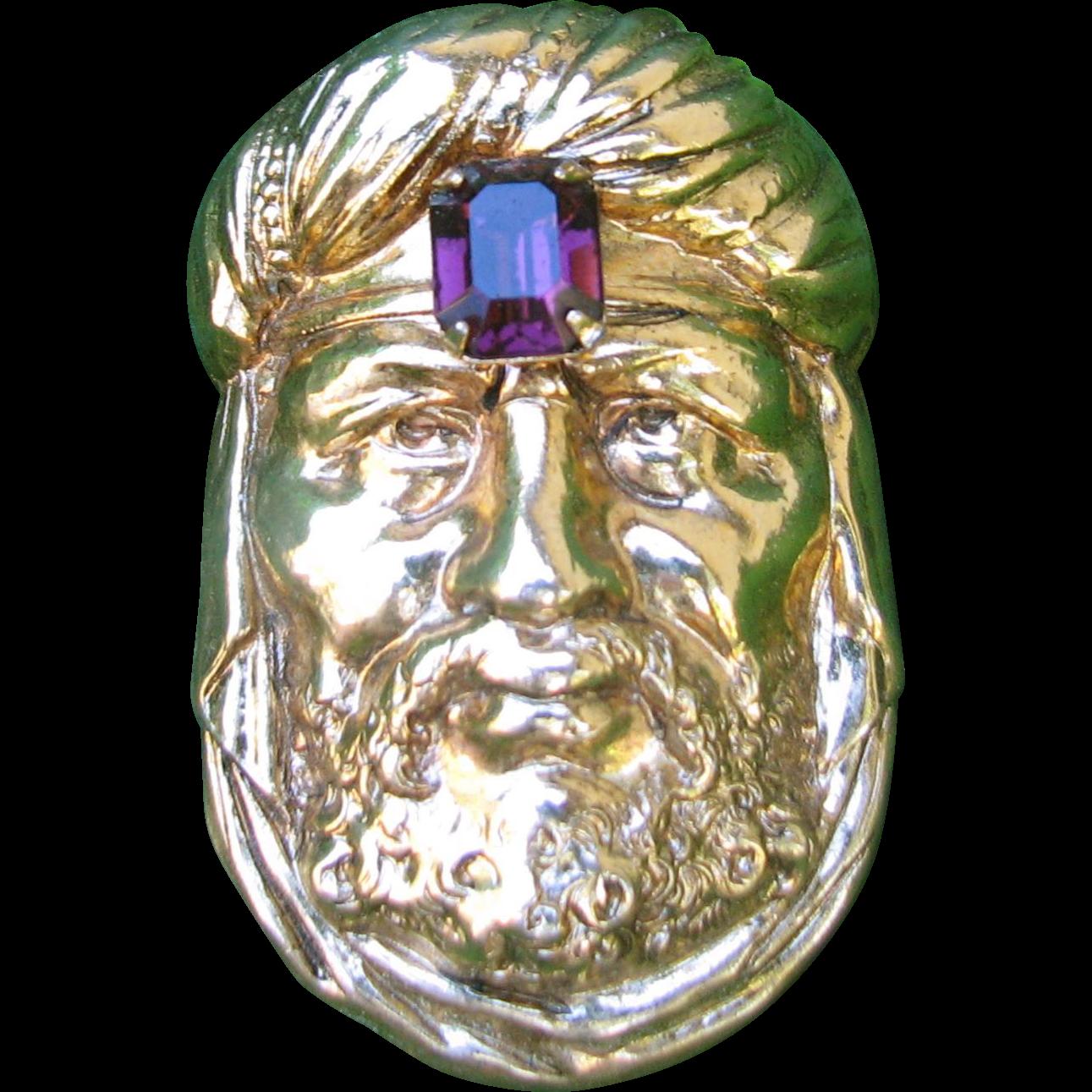 Vintage Scarf Clip Pin Combo Arab Man Sheik