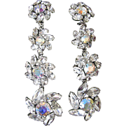 Large Vintage  Glamorous Red Carpet Rhinestone Earrings
