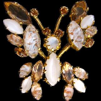 Vintage Unsigned Schreiner Trembler Butterfly Pin