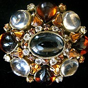 Really Nice Vintage Schreiner Clear and Brown Cabochon Brooch