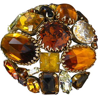 Vintage Fall Colors Schreiner Demi-Parure with Great Stones