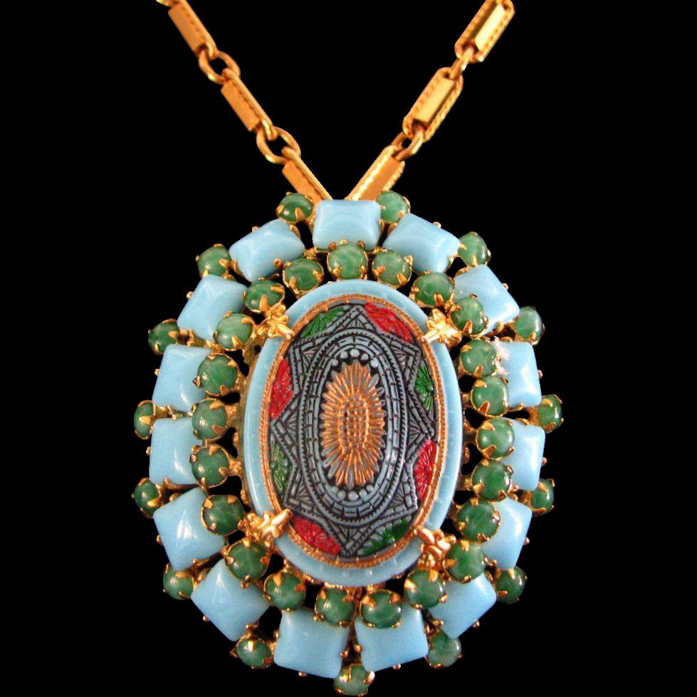 Vintage Schreiner Mosaic Pin / Pendant Necklace