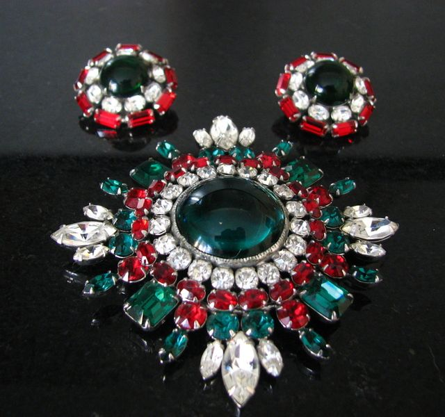 Vintage Signed Schreiner Brooch with Coordinating Earrings