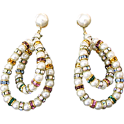Elegant Vintage Rhinestone Rondelle and Faux Pearl Earrings