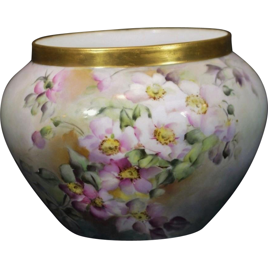 Délinieres &Co (D&Co)  Limoges Hand Painted Jardinière Pink Dogwood Blossoms and Gold Trim Artist Signed