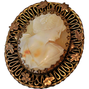 Lovely Cameo with Ornate Three Dimensional Frame Featuring Delicate Leaves