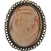 Delicate Hand Carved Art Nouveau Shell Cameo Pin/Pendant with Filigree Frame Marked MP800