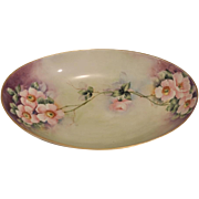 Bareuther Waldsassen Bavaria Germany Hand Painted Large Oval Bowl Decorated with Pink Dogwood Blossoms
