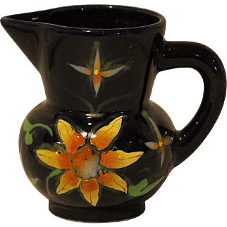 Bright Hand Painted Dark Blue Small Pitcher Hand Painted with Colorful Flowers
