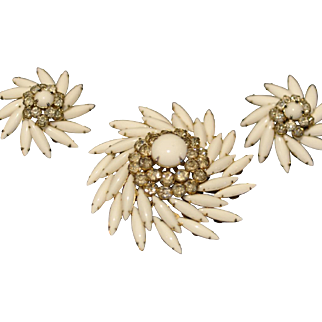 Vintage Judy Lee Swirling White Milk Glass and Clear Rhinestone Pin and Matching Earrings
