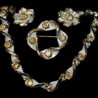 Kramer Parure Set of Aurora Borealis Rhinestones Set in Blue Enamel Necklace, Pin and Earrings