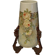 Hand Painted Three Legged Vase Decorated with Beautiful Yellow Roses Artist Signed and Dated 1906