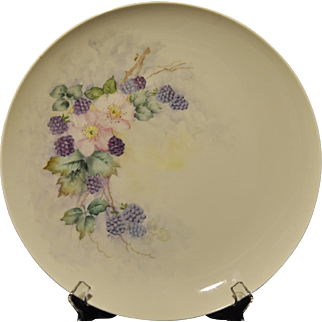 Lovely Large Hand Painted Charger Decorated with Blackberries and Primroses Artist Signed
