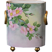 William Guerin Limoges France Hand Painted Cache Pot/Vase with Pink Primroses