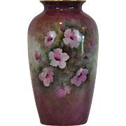 Lovely Art Nouveau Hand Painted Large Vase Beautifully Decorated with Pink Flowers Artist Signed