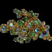 Sparkling Vintage Green Aurora Borealis Rhinestone Pin