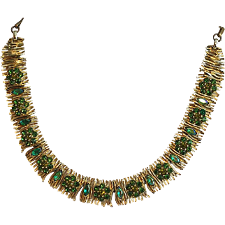 Vintage Lisner Gold Gilt Necklace with Brilliant Green and Turquoise Green Rhinestones