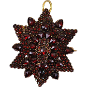 Twelve Point Star Mourning Victorian Pyrope Bohemian Garnet Pin/Pendant