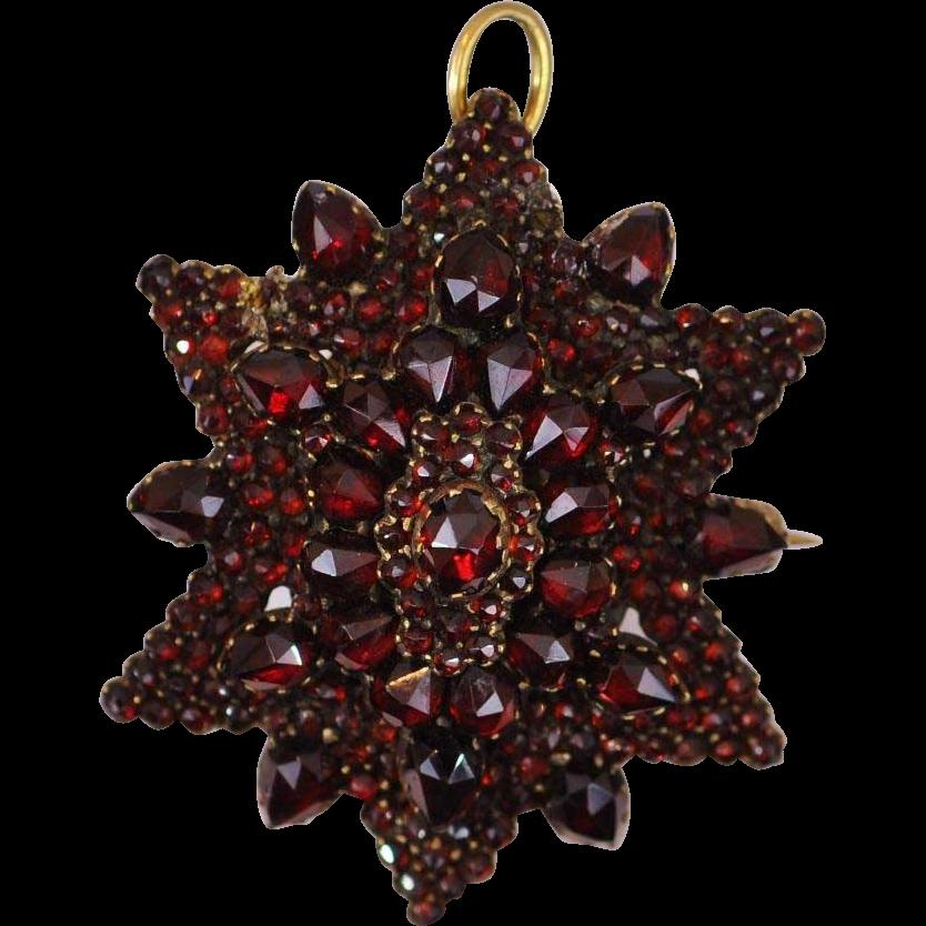 Twelve Point Star Mourning Victorian Pyrope Bohemian Garnet Pin/Pendant