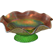 Northwood Green and Gold Rainbow Carnival Glass Ruffled Pedestal Compote Bowl in Leaf and Beads Pattern