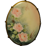 Very Large Hand Painted Oval Porcelain Pin with Pink Roses