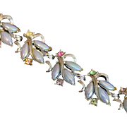 Vintage TARA Jewelry Bracelet with Blue Iridescent Glass Stones Accented with Multicolored Rhinestones Circa 1960's