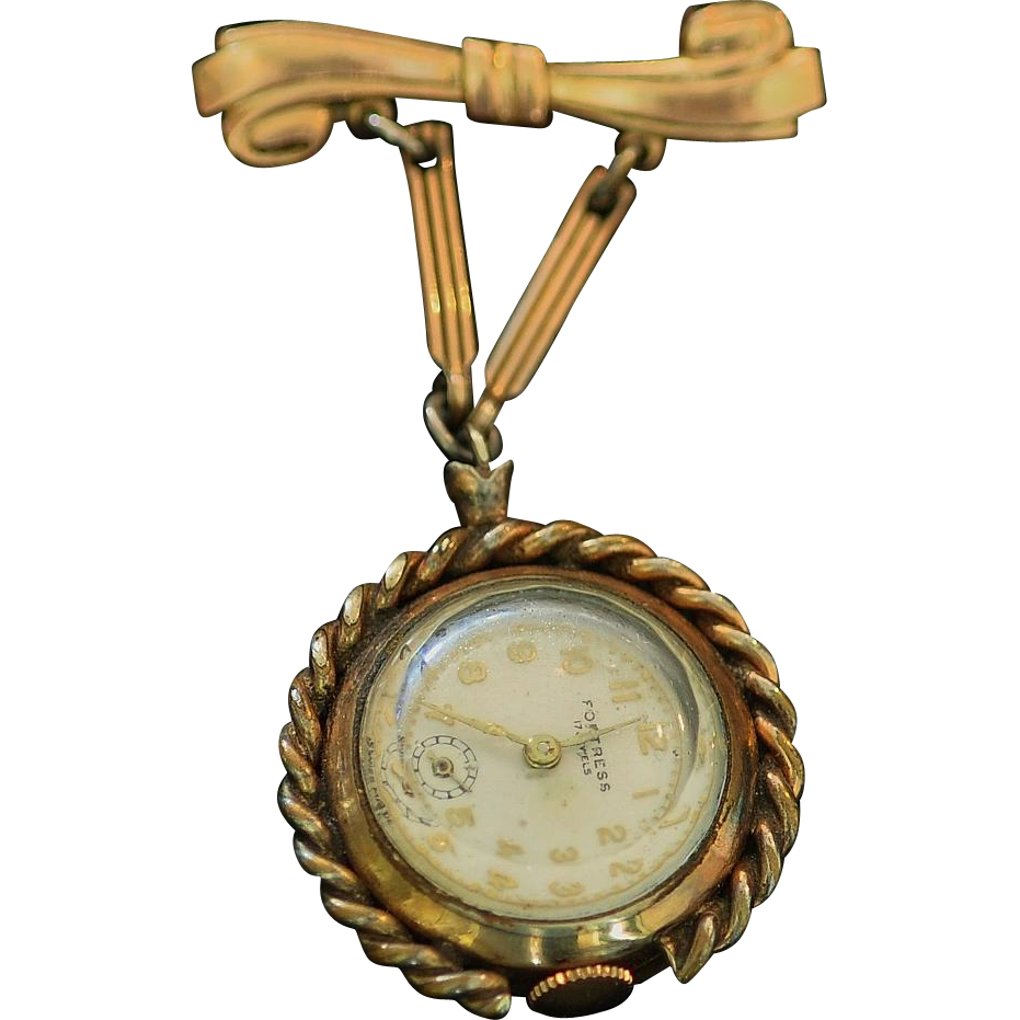 Vintage 10K Rolled Gold 17 Jewel Fortress Swiss Made Lapel Watch Dangling From Bow Pin