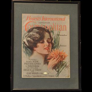 Harrison Fisher Cover 1920's Hearst International Cosmopolitan Complete Magazine Framed