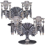 Set of Two Paden City Maya Double Candlesticks Etched Elegant Glass Accented with Glass Bobeche and Hanging Prisms