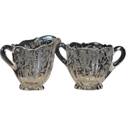 Cambridge Rosepoint Footed Creamer and Sugar