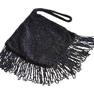 Stunning Vintage Blue Carnival Glass Beaded Purse with Twisted Fringe