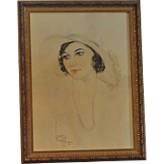 """Soft Pastel Painting of """"Loretta"""" with Hat by Artist Billy Wood 1931"""