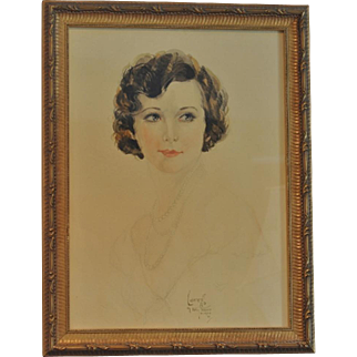 """Vintage Soft Pastel Painting of """"Loretta"""" by Artist Billy Wood Miami 1931"""