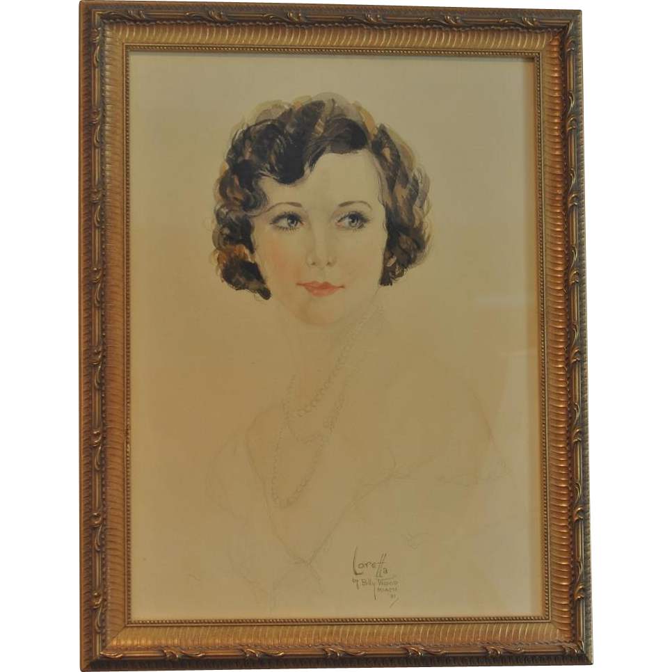 "Vintage Soft Pastel Painting of ""Loretta"" by Artist Billy Wood Miami 1931"