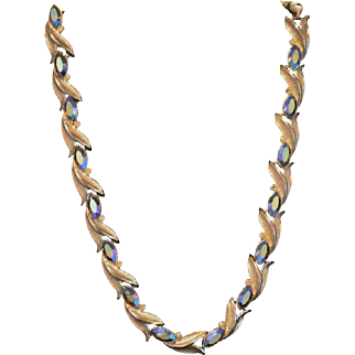 Kramer of New York Silver Leaf Necklace Accented with Aurora Borealis and White Rhinestones