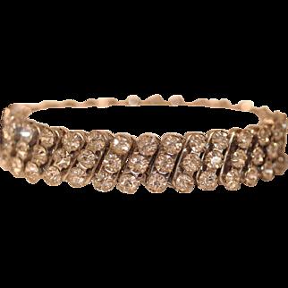 Vintage Expandable Watchband Bracelet with Brilliant Clear White Prong Set Rhinestones