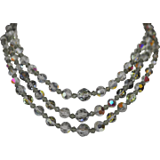 Vintage Smokey Grey Aurora Borealis Highly Faceted Triple Strand Faceted Crystal Necklace