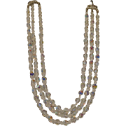 Sparkling Vintage Four Strand Faceted Aurora Borealis Clear Crystal Necklace with Rhinestone Clasp