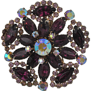Large Round Rhinestone Pin Featuring Deep Purple, Light Lavender and Aurora Borealis Faceted Rhinestones