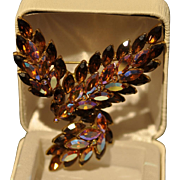 Aurora Borealis and Golden Brown Marquis Rhinestone Large Brooch/Pin