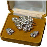 Lisner Clear Brilliant White Rhinestone and Silver Leaf Pin and Earrings